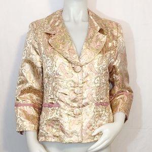 Lovely Pink & Gold Paisley Silk Jacquard Jacket